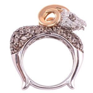 diamond rams head ring
