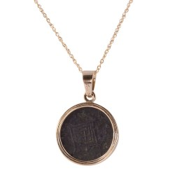 18K Pendant with Ancient Coin on Chain