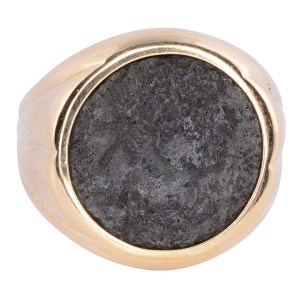 18K Ring with Ancient Coin