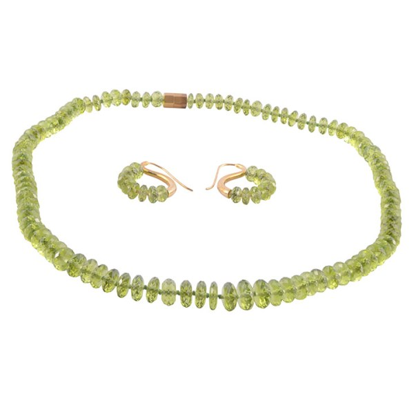 peridot necklace & earring set