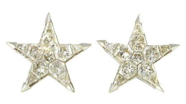H-J Color SI Clarity Star Diamond Earrings