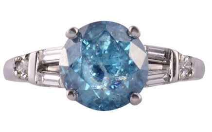 2.01 Carat Irradiated Blue Diamond Ring