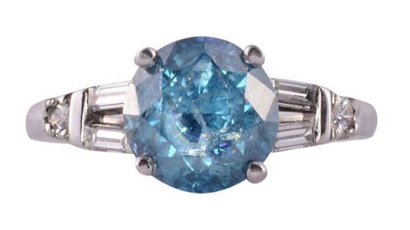 2.01 Carat Irradiated Blue Diamond Ring