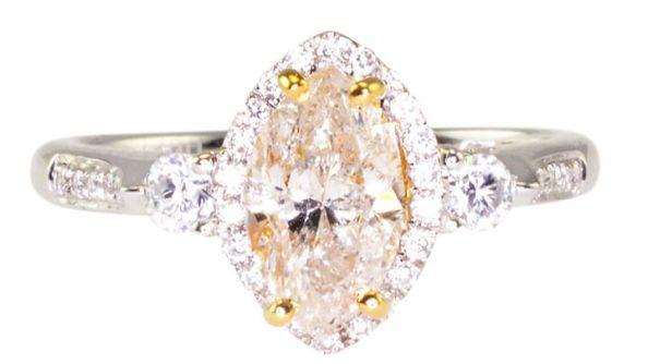 M Color .95 Carat Marquise Diamond Engagement Ring
