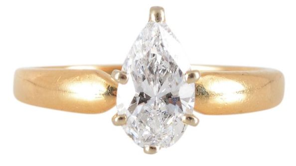 .76 Carat VVS1 Pear Cut Diamond Solitaire Ring