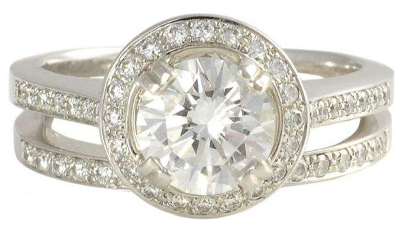 GIA Certified Excellent Cut Grade Round Brilliant Center Diamond Wedding Set