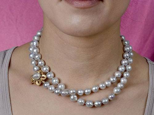 "32"" Baroque Gray Pearl Necklace with Floral Clasp"