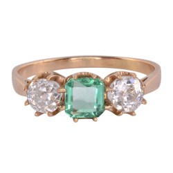 0.40 Carat Center Emerald and Diamond Ring