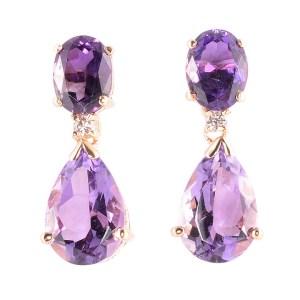 pear amethyst drop earrings