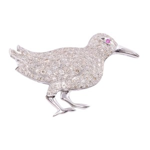diamond bird brooch
