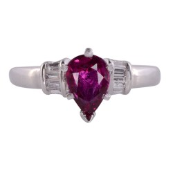 Pear Ruby Diamond Platinum Ring