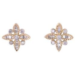Estate Diamond Yellow Gold Earrings