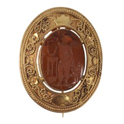 Amber Glass Intaglio Pin or Pendant