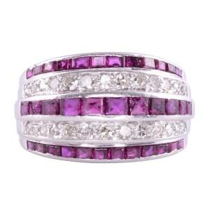 Art Deco ruby diamond ring