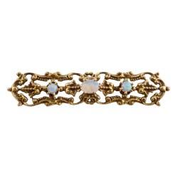 Opal 14K Yellow Gold Filigree Bar Pin