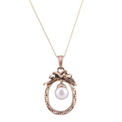 Floating Saltwater Pearl Pendant on Chain
