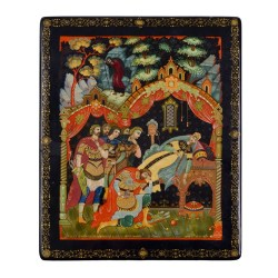 Russian Royal Deathbed Scene Lacquer Box
