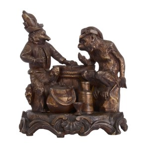 animals playing poker bronze