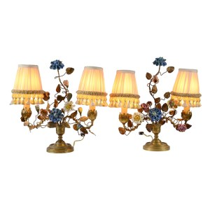 Pair Porcelain and Brass Lamps