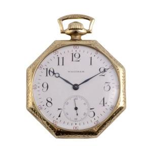 Waltham octagonal 14K pocket watch