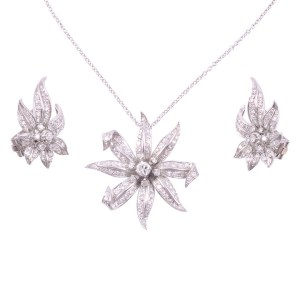 Diamond Platinum Necklace and Earring Set