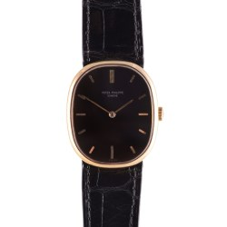 Patek Philippe Black Dial 18K Gold Wrist Watch
