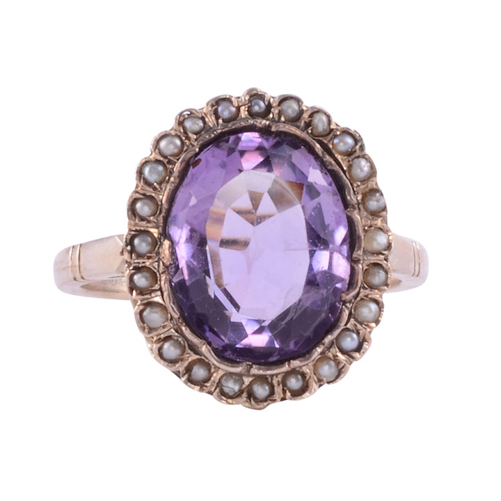 Amethyst & Seed Pearl Gold Ring