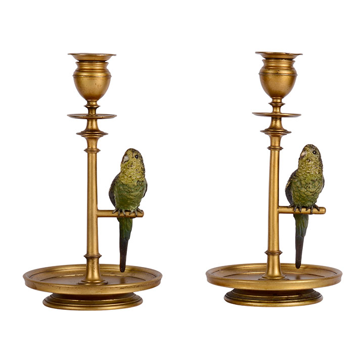 Bronze Pair Budgie Parakeet Candle Holders
