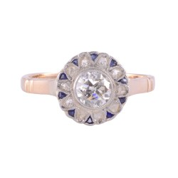 18K Platinum Diamond Sapphire Ring