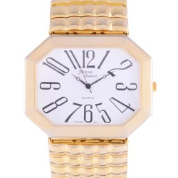 Jacques Couture Gold Plate Oversize Mens Wrist Watch