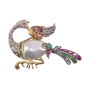 freshwater pearl bird brooch