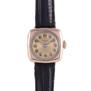 Early Rolex Gold Cushion Shape Wrist Watch
