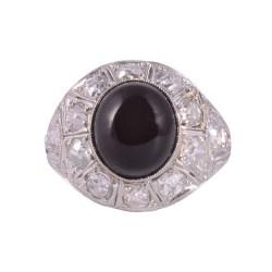 Art Deco Onyx & Diamond Platinum Ring