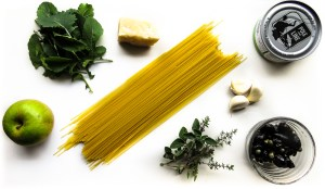 Ingredients for pasta night with tuna, olives and capers
