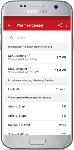 SolvisParameter App Android Screen