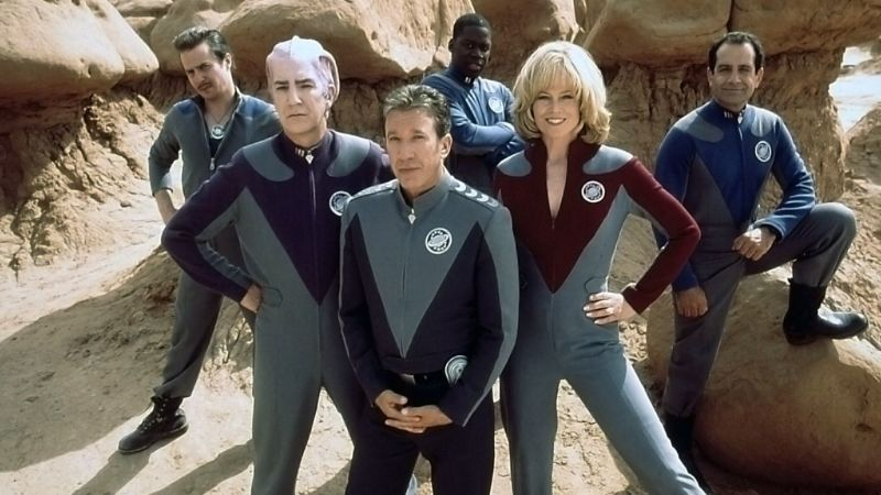 Sam Rockwell, Alan Rickman, Tim Allen, Daryl Mitchell, Sigourney Weaver, and Tony Shalhoub in Galaxy Quest.