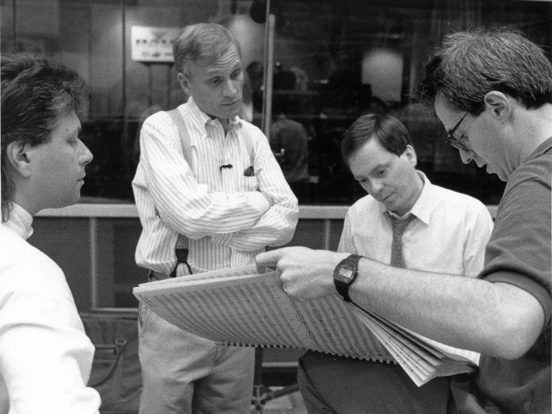 "Behind the scenes of ""Beauty and the Beast."" for the movie ""Beauty and the Beast."" NOVEMBER 1991. Alan Menken, Howard Ashman, Danny Troob, and David Friedman."
