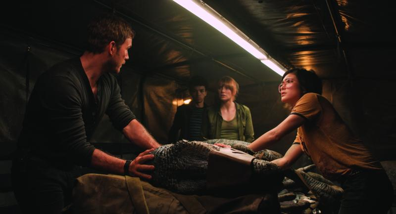 "(L to R) Owen (CHRIS PRATT), Franklin (JUSTICE SMITH), Claire (BRYCE DALLAS HOWARD) and Zia (DANIELLA PINEDA) try and save Blue in ""Jurassic World: Fallen Kingdom."""