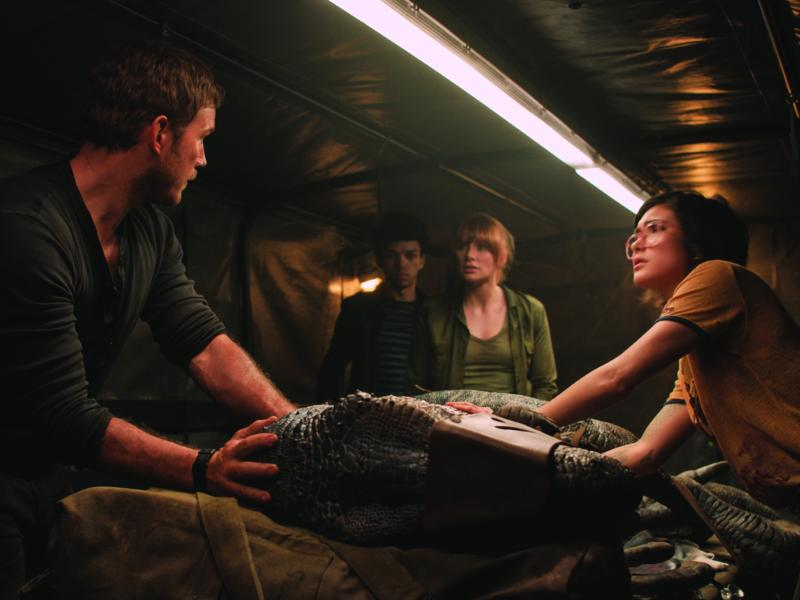 "(L to R) Owen (CHRIS PRATT), Franklin (JUSTICE SMITH), Claire (BRYCE DALLAS HOWARD) and Zia (DANIELLA PINEDA) try and save Blue in ""Jurassic World: Fallen Kingdom."""