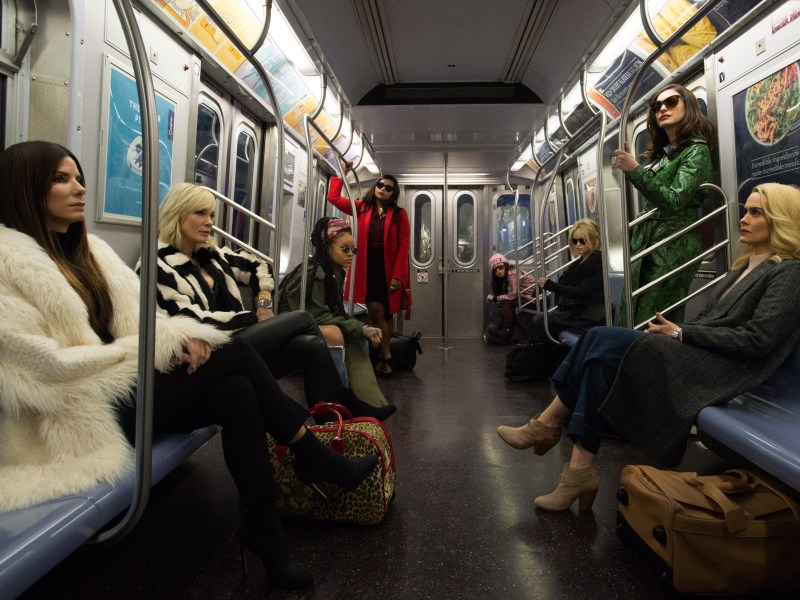 "(L-R) SANDRA BULLOCK as Debbie, CATE BLANCHETT as Lou, RIHANNA as Nine Ball, MINDY KALING as Amita, AWKWAFINA as Constance, HELENA BONHAM CARTER as Rose, ANNE HATHAWAY as Daphne Kluger and SARAH PAULSON as Tammy in Warner Bros. Pictures' and Village Roadshow Pictures' ""OCEAN'S 8,"" a Warner Bros. Pictures release."