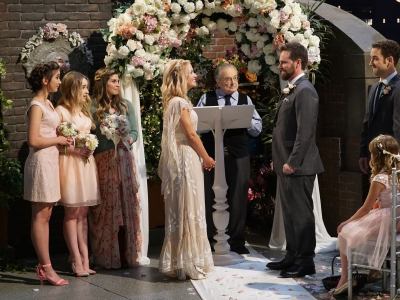 Rowan Blanchard, Sabrina Carpenter, Danielle Fishel, Cheryl Texiera, William Daniels, Rider Strong and Ben Savage in Girl Meets World.