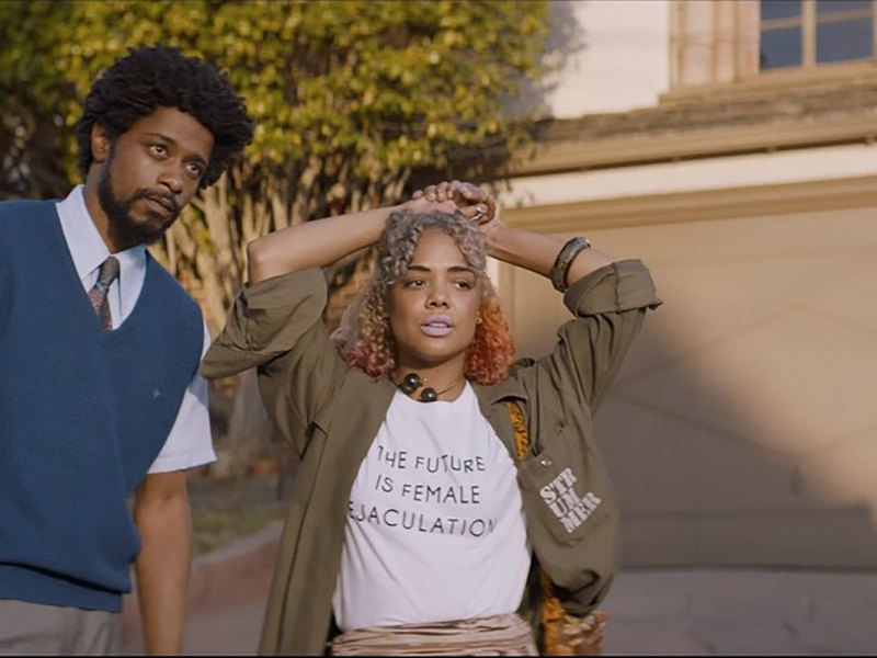 Lakeith Stanfield as Cassius Green and Tessa Thompson as Detroit star in director Boots Riley's SORRY TO BOTHER YOU, an Annapurna Pictures release.