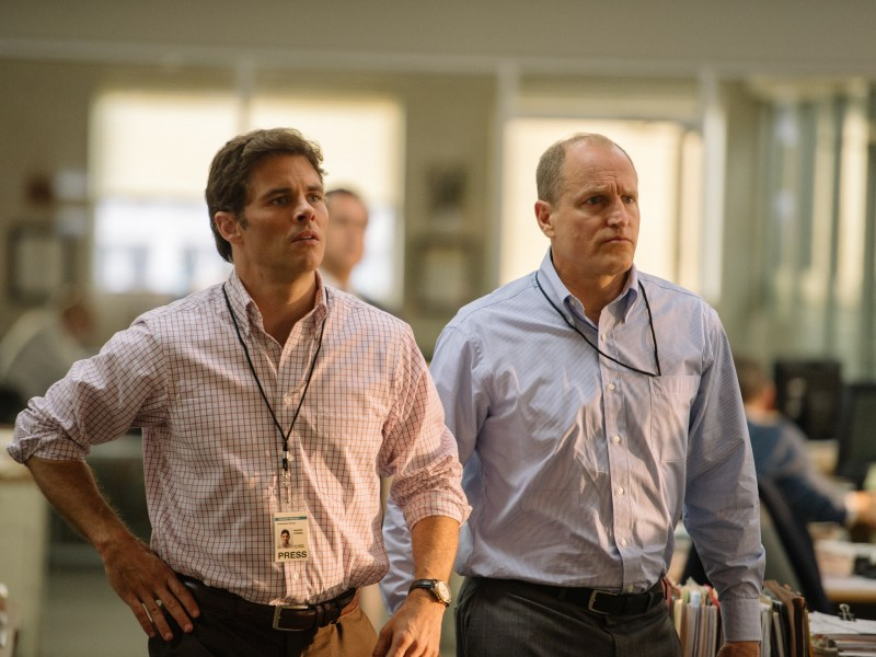 James Marsden and Woody Harrelson in Shock and Awe.