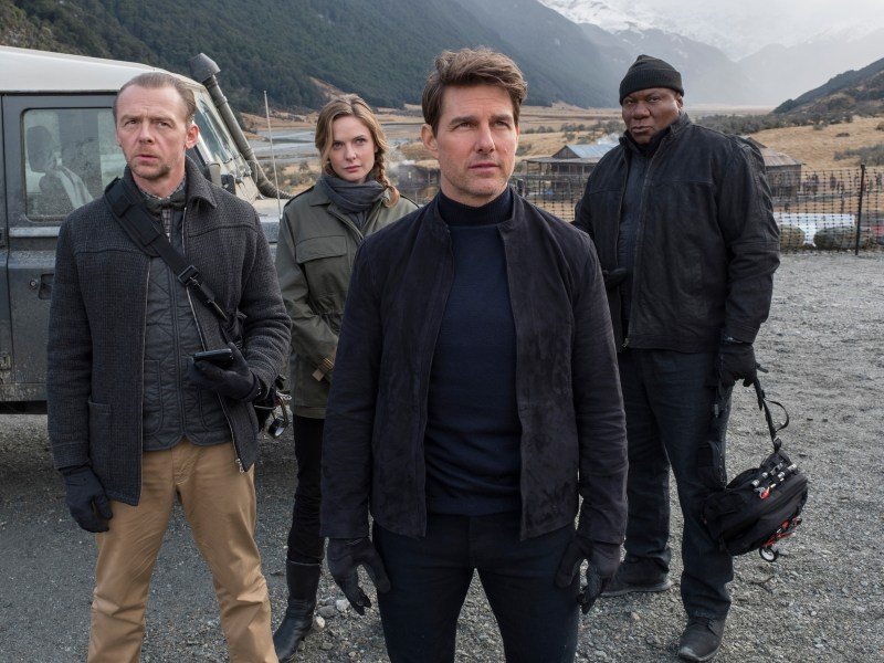 Left to right: Simon Pegg as Benji Dunn, Rebecca Ferguson as Ilsa Faust, Tom Cruise as Ethan Hunt and Ving Rhames as Luther Stickell in MISSION: IMPOSSIBLE - FALLOUT, from Paramount Pictures and Skydance.