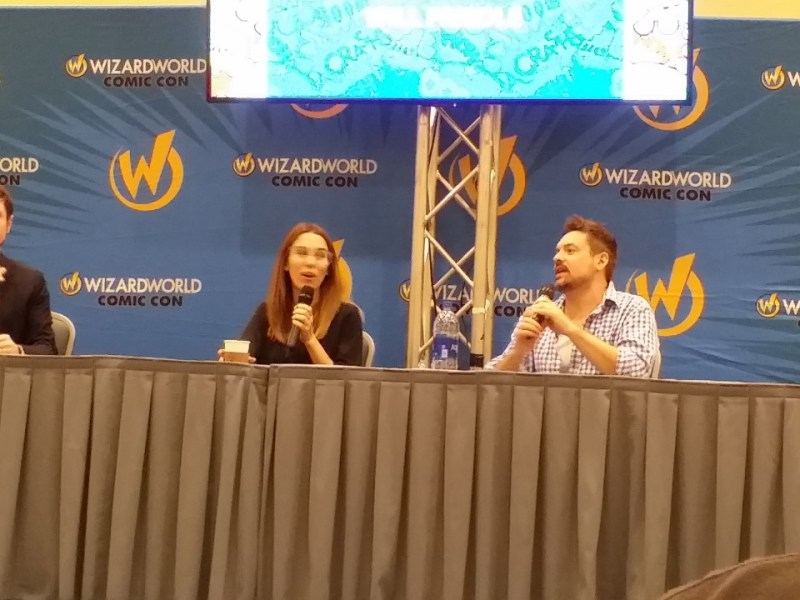 Christy Carlson Romano and Will Friedle talk during a Kim Possible panel at Wizard World Chicago in August 2018.