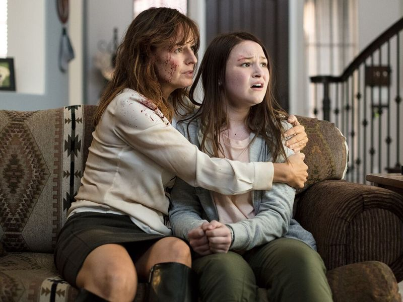 [L-R] Rosemarie DeWitt as Cassie and Lolli Sorenson as Morgan in the action comedy ARIZONA, an RLJE Films release.