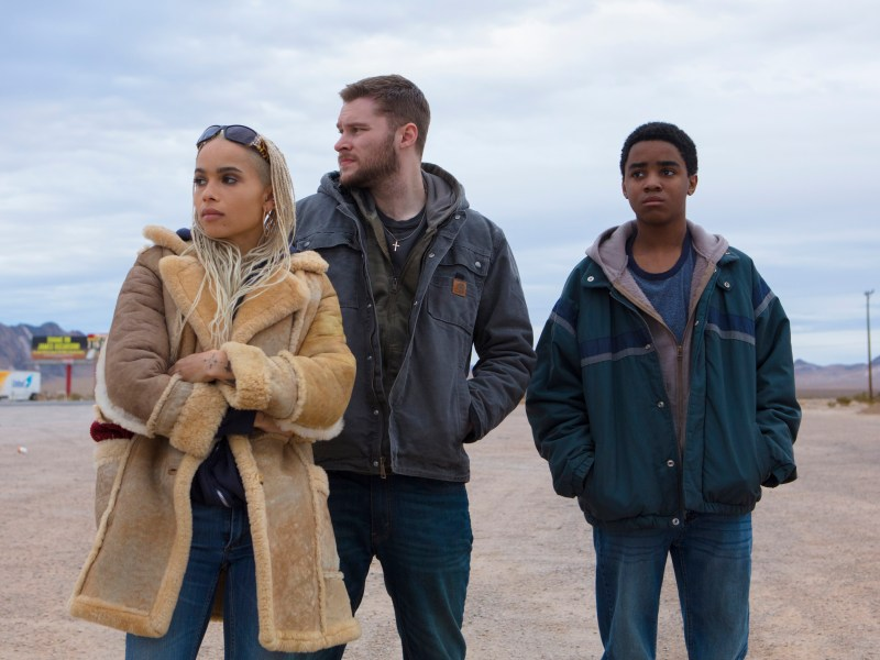 Milly (Zoe Kravitz, left), Jimmy (Jack Reynor, center) and Eli (Myles Truitt, right) in KIN.