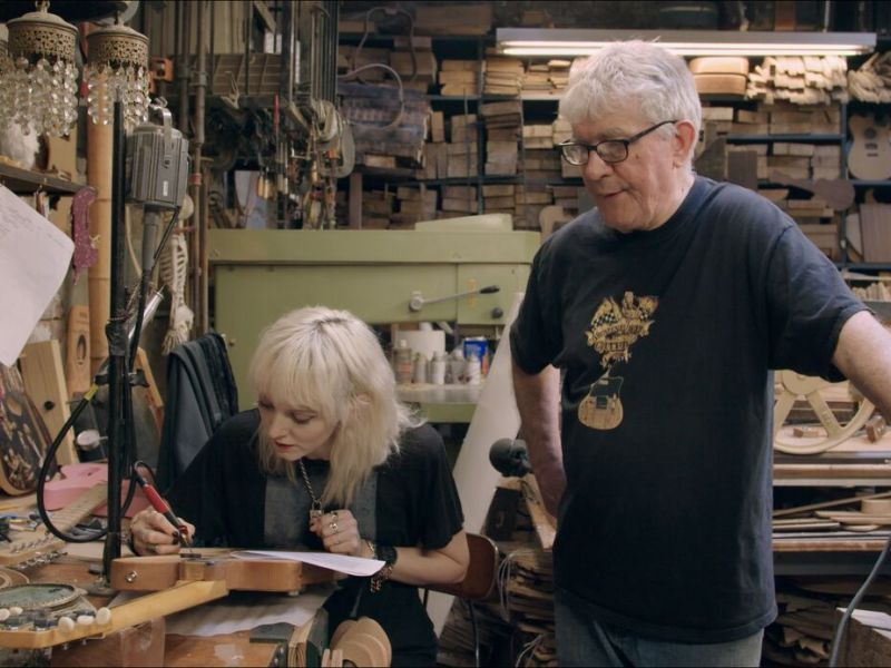 Carmine Street Guitars owner and guitar-maker Rick Kelly and his apprentice Cindy Hulej in Carmine Street Guitars, directed by Ron Mann.