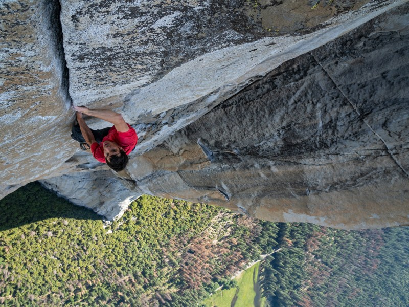 Alex Honnold climbs up El Capitan in California's Yosemite National Park in Free Solo.