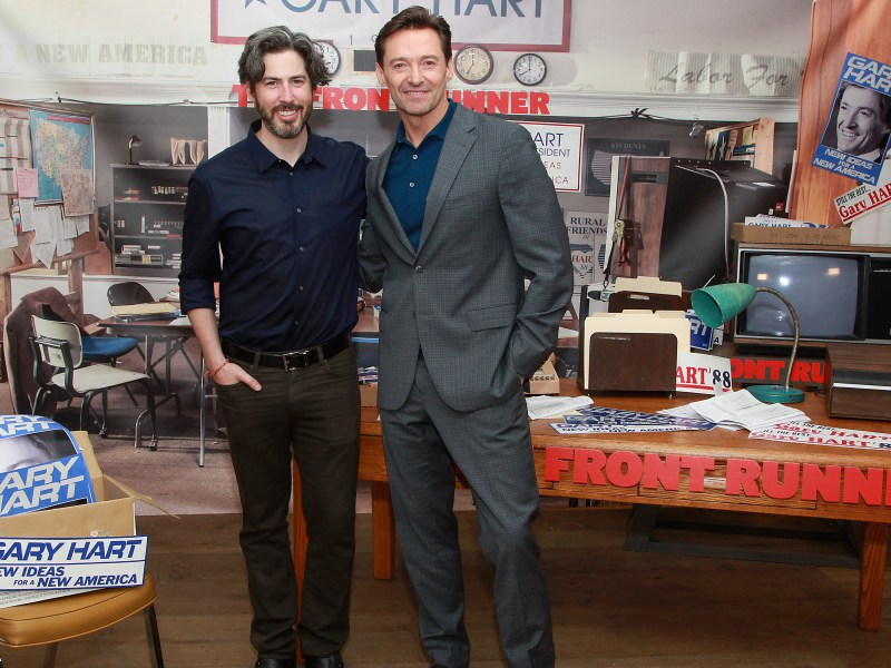 Jason Reitman and Hugh Jackman at The Crosby St. Hotel.
